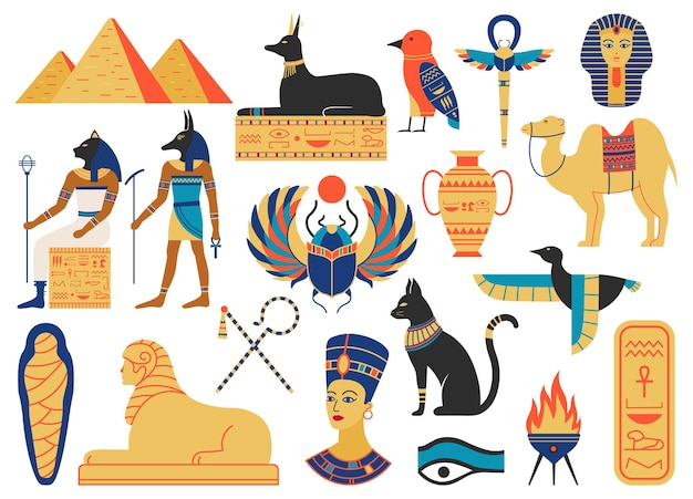 Simboli dell'antico egitto. creature mitologiche, divinità egizie, piramidi e animali sacri
