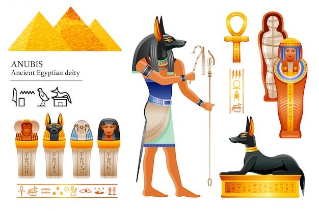 Insieme dell'icona di antico dio egizio anubi. divinità testa canina di morte, mummificazione, vita ultraterrena. mummia, vaso canopico, tomba di cane.