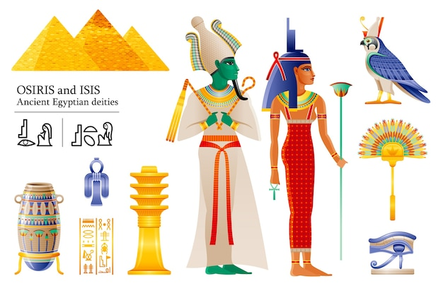 Set di icone della dea iside del dio egizio antico faraone osiride. ventaglio, vaso, pilastro djed, nodo, falco della divinità horus, wadjet.