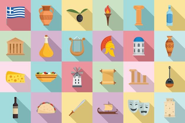 Le icone dell'antica grecia hanno impostato il vettore piatto. partenone greco. storia mitologia