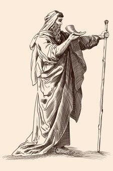 Vecchio greco antico con mantello con un bastone e un corno tra le mani.