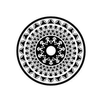 Modello di chiave rotonda greca antica - arte meandro, forma nera mandala
