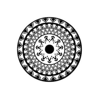 Modello di chiave rotonda greca antica - arte meandro, forma nera mandala Vettore Premium