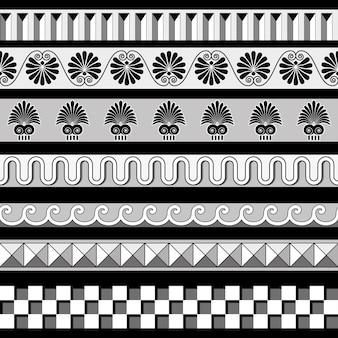 Insieme del modello delle cornici dei bordi senza giunte del greco antico