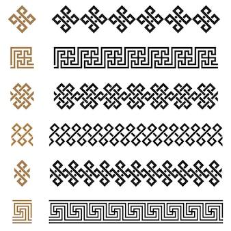 Il costruttore dell'ornamento senza cuciture del greco antico confina l'insieme del modello delle cornici. collezione di ornamenti tradizionali vintage senza soluzione di continuità. dalla grecia