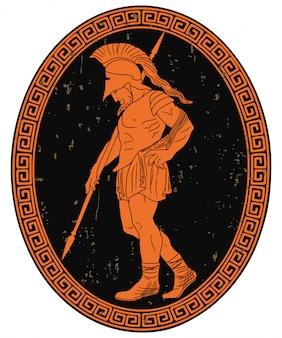L'antico guerriero greco con una lancia in mano lascia il campo di battaglia.