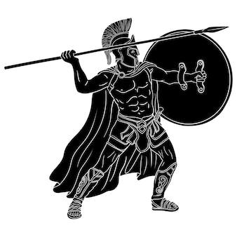 Antico guerriero greco con una lancia e uno scudo nelle sue mani