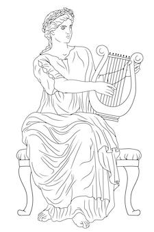 Antica dea greca donna dell'arte con un'arpa in mano e una corona di alloro sulla testa.