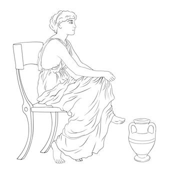 La donna greca antica si siede su una sedia vicino a una brocca di vino.
