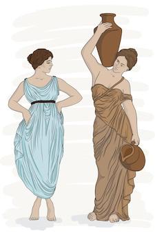 Le giovani belle donne greche antiche portano l'acqua nelle brocche
