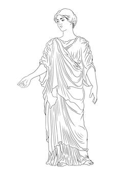 Un'antica giovane donna greca in tunica e mantello si alza distoglie lo sguardo e fa un gesto. figura isolata su sfondo bianco.