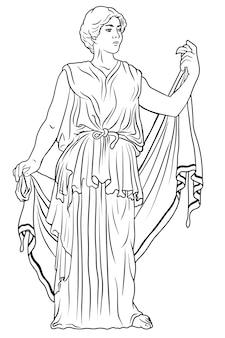 La giovane donna greca antica in una tunica e un mantello si leva in piedi distoglie lo sguardo e fa i gesti
