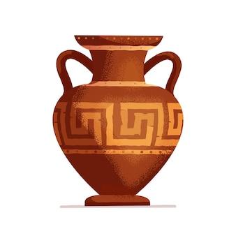 Antico vaso greco fatto a mano. anfora di argilla colorata. vaso antico tradizionale isolato su priorità bassa bianca. illustrazione piatta.