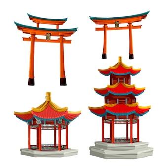 Gli oggetti della cultura antica del giappone hanno messo l'illustrazione di vettore isolata del portone giapponese, del tory e della pagoda. insieme di set di vettore del giappone.
