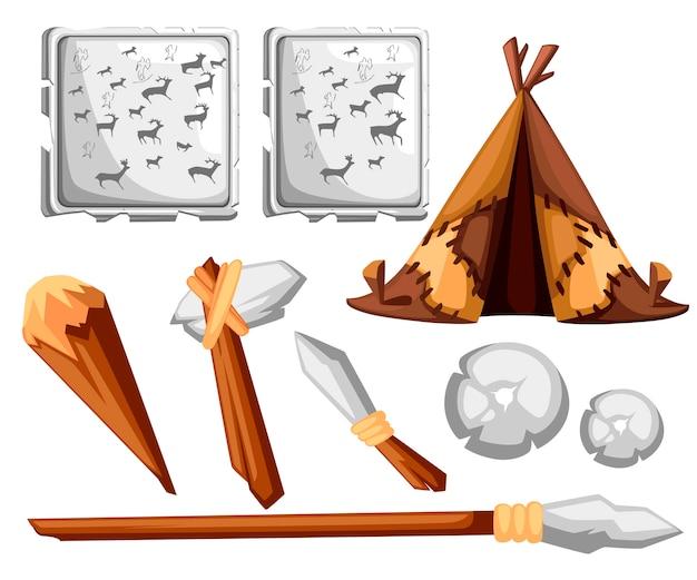 Capanna dell'uomo antico. casa preistorica da pelli di cuoio. strumenti dell'età della pietra e pittura rupestre. stile . illustrazione su sfondo bianco