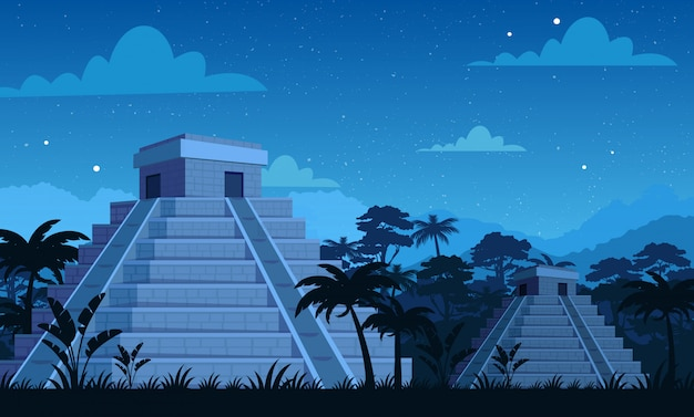 Antiche piramidi maya di notte con piante tropicali, sfondo giungla e cielo in stile cartone animato piatto.