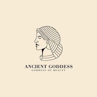 Antica monoline afrodite dea greca della bellezza e del logo del viso d'amore per il marchio di yoga del salone spa