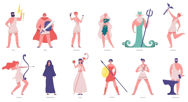 Antichi dei olimpici. dei e dee greche, zeus, poseidone, atena, dioniso e ares