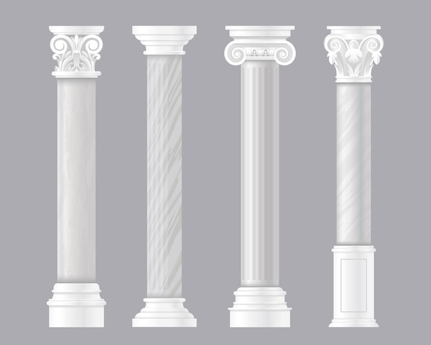 Antichi pilastri. insieme architettonico di colonne di marmo classico greco o romano, colonnare antico