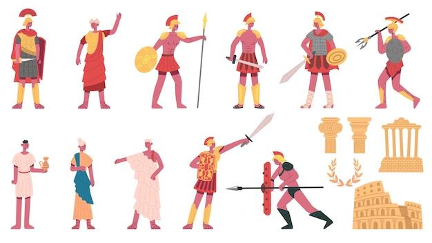 Antico impero romano. personaggi romani antichi, imperatore, centurioni, soldati e set di illustrazioni vettoriali per cartoni animati della plebe. simbolo dell'impero di roma. personaggio romano antico, costume maschile impero