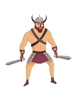 Gladiatore dell'antica roma. personaggio guerriero romano in armatura con spade. appartamento in stile cartone animato. uomo militante pronto per la battaglia.