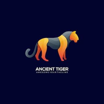 Colore moderno sfumato di tigre antica Vettore Premium