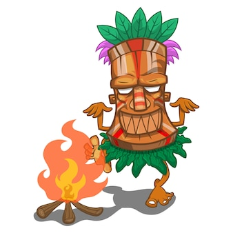 Le antiche tribù fanno fuoco ballare vettore dei cartoni animati