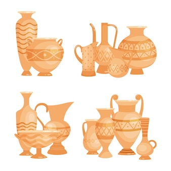 Antichi vasi, ciotole e calici su sfondo bianco