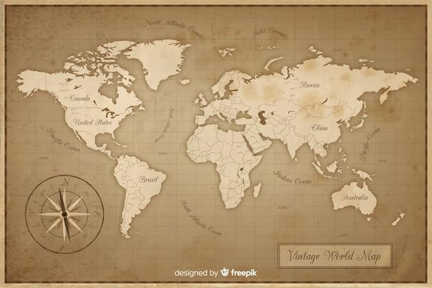 Mappa del mondo antico e vintage Vettore Premium