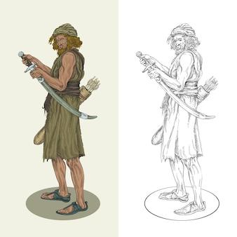 Antico guerriero in possesso di una spada pronta per la battaglia