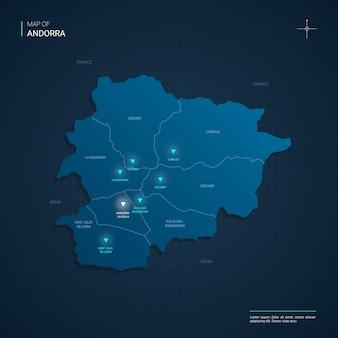 Mappa di andorra con punti luce al neon blu