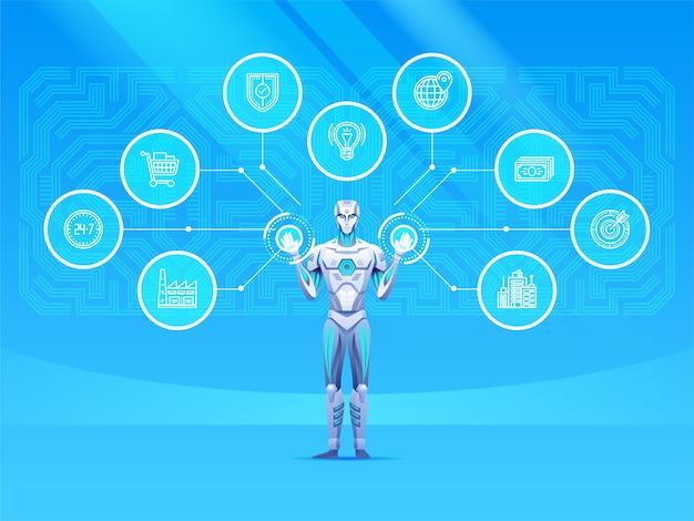 Robot android con rete industriale. il robot sta lavorando con il touchscreen.