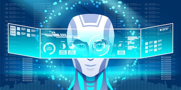 Robot android con display virtuale