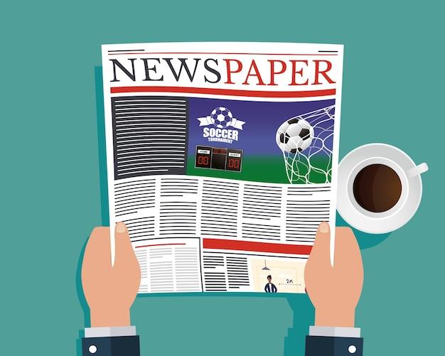 Ands persona che legge giornali e illustrazione di bere caffè