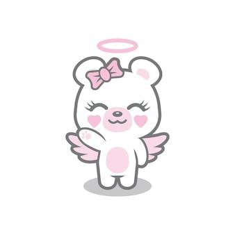 Disegno del logo mascotte orso angelo
