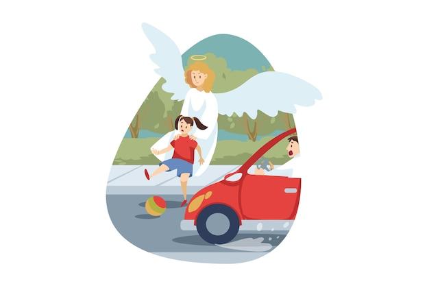 Carattere religioso biblico di angelo che salva la ragazza del bambino del bambino in giovane età dalla morte di incidente stradale.