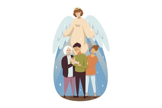 Il personaggio religioso biblico di angelo guarda in famiglia