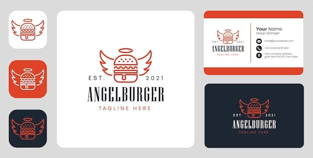 Logo dell'hamburger di angelo con design stazionario