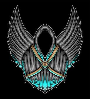 Angelo della morte con le ali. vettore premium