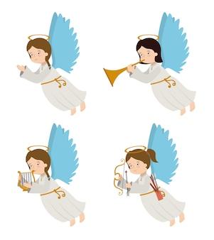 Disegno di angelo, illustrazione vettoriale.