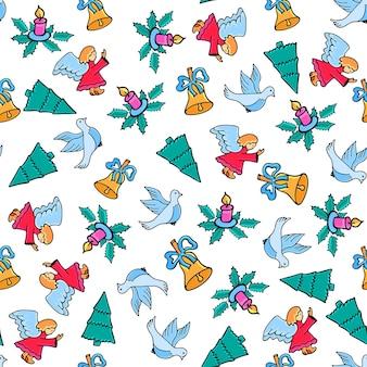 Angelo, colomba, candela, campana. reticolo senza giunte di natale. design festivo per il nuovo anno in stile scarabocchio.