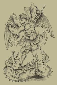 Stemma araldico di incisione di angelo e drago