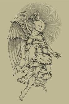 Stemma araldico di incisione di angelo