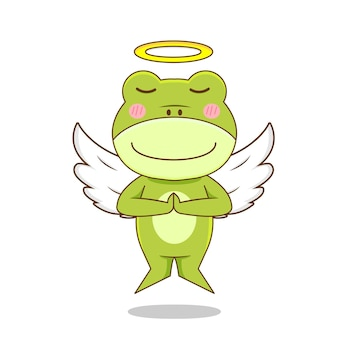 Personaggio rana angelo isolato