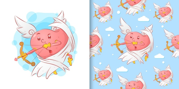 L'angelo ama tenere la freccia dell'amore per il giorno di san valentino nel modello di illustrazione