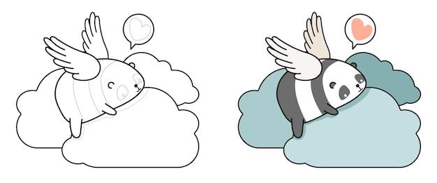 Pagina da colorare di angelo panda sulla nuvola per bambini