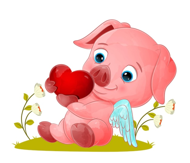 Il maiale angelo è seduto e tiene in mano un piccolo amore per l'illustrazione