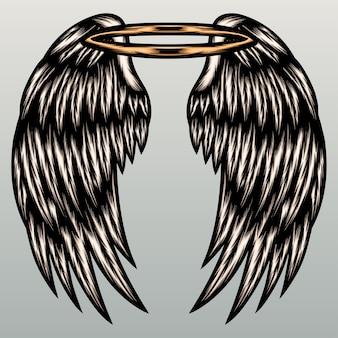 Illustrazione di ala di angelo.