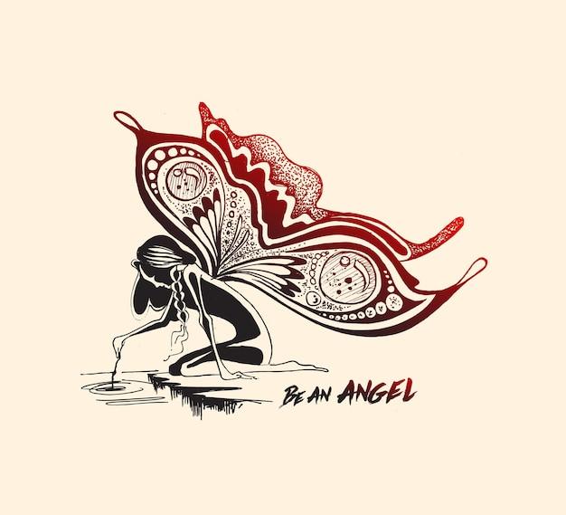 Angelo con ali di farfalla