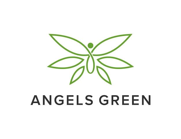 Angelo con foglie semplice elegante design geometrico creativo moderno logo